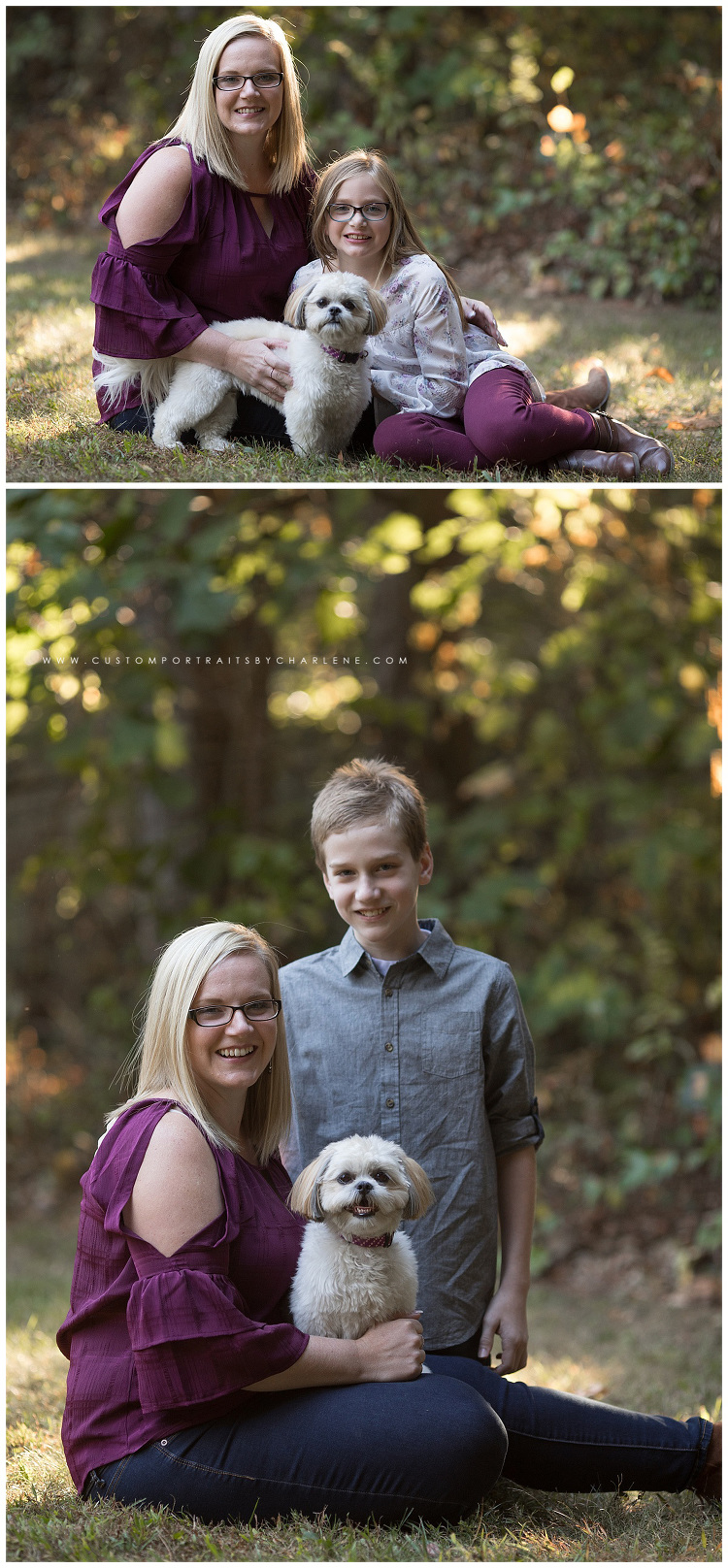 <alt> Mother Daughter Mother Son Dog Portrait Session Pittsburgh Family Outdoors Sunshine Jeans Burgundy Shirt Burgundy Pants Glasses Boots Smiling Fun Smiles Nature Sunshine Outdoors <alt>